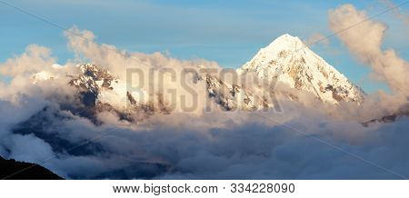 Evening View Of Mount Salkantay In The Middle Of Clouds, View From Choquequirao Trekking Trail, Cuzc