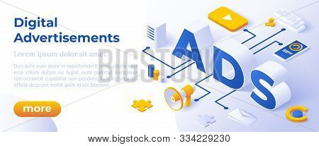 Ads - Digital Advertising Social Media Online Marketing. Isometric Big Letters Ads And Digital Devic