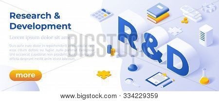 Research And Development. Business Solution Concept. Isometric Big Letters R And D And Digital Devic