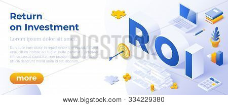 Return On Investment, Roi, Business, Profit, Flat Vector Conceptual Banner Illustration With Icons A