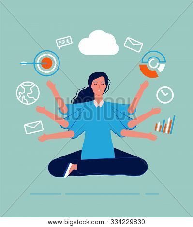 Multitasking Female. Business Woman Leader Manager Yoga Sitting With Many Goals And Deals Perfect Sk