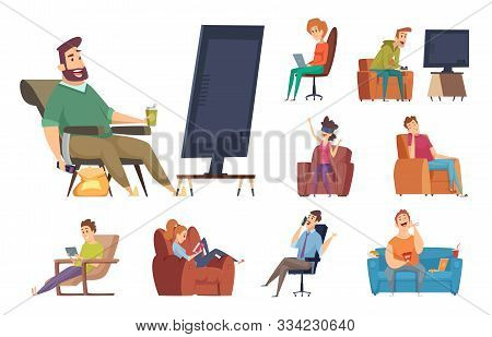Sedentary Characters. Lazy Lifestyle People Sitting Reading Chatting In Smartphone Watching Tv Unhea