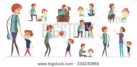 Nanny For Kids. Modern Babysitter Teaching Preschool Childrens And Playing Games Vector Characters I