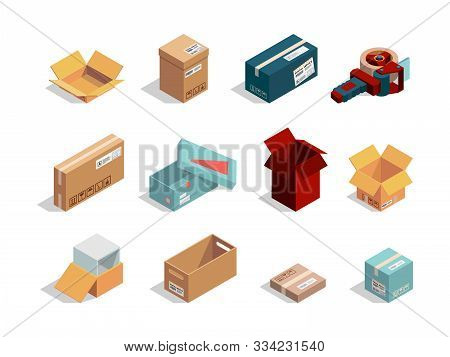 Boxes Isometric. Cardboard Packages Open And Closed Container Shipping Cartons Vector Box Collection