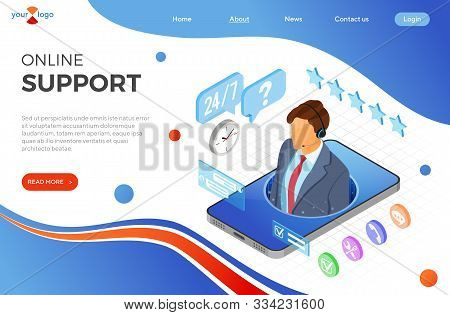 Online Isometric Customer Support Concept. Mobile Call Center With Male Consultant, Headset, Rating,