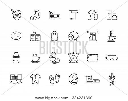Sleeping Symbols. Relax Rest Simple Icons Bed Pillow Clock Teddy Bear Clouds Vector Sleep Pictures C