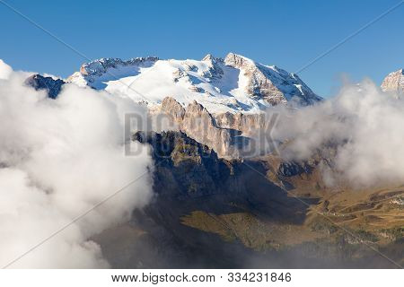 View Of Marmolada, The Highest Mount Of Dolomites Mountains, Italy