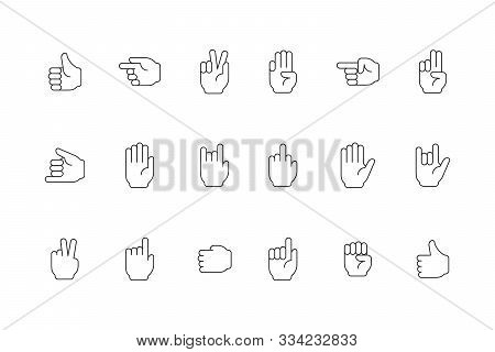 Gestures Line Icon. Human Hands Pointing And Holding Symbols Of Peace Victory Devil Person Palm And