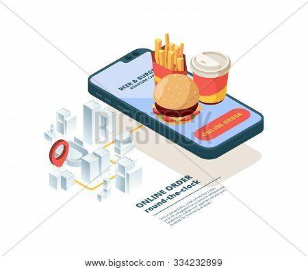 Pizza Order Online. Smartphone Screen Fast Food Pictures Mobile App Internet Shopping Order Junk Foo