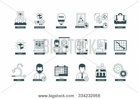 Agility Icons. Scrum Methodology Professional Meeting Conference Master Agile Vector Symbols Collect