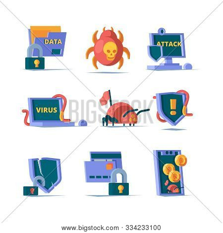 Data Security. Padlock Network Firewall Safety Server Online Clean Server Cyber Security Vector Flat