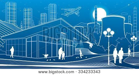 Outline Industry And City Illustration. Evening Town Urban Scene. People Walking At Garden. Night Sh