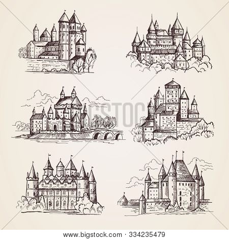 Castles Medieval. Old Tower Buildings Vintage Architecture Ancient Gothic Castles Vector Hand Drawn