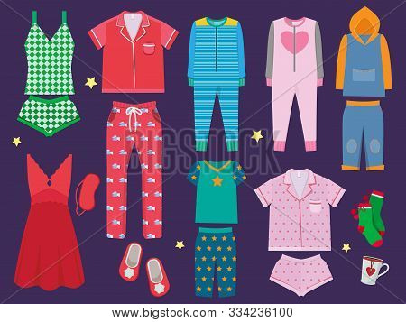 Pajamas Set. Sleeping Clothes Collection For Children And Adults Sleepwear Textile Vector Colored Ca