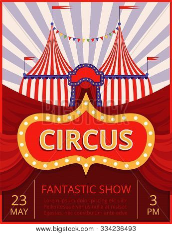 Circus Invitation. Festival Or Party Event Poster Template With Stripe Tent Pictures And Place For T