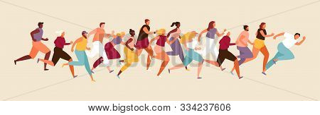 Marathon Race Is A Large Group Of People Of Different Nationalities. Sport And Healthy Lifestyle. Ve