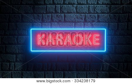 3d Render Of Light Night Street Neon Karaoke Sing On Brick Wall. Advertising Signboard For Karaoke B