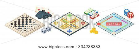 Board Games Isometric. Various Tools For Board Games. Dices, Pawns Cards Coins Money. Vector Board G