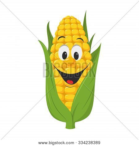 Vegetables Characters Collection: Vector Illustration Of A Funny And Smiling Corncob In Cartoon Styl
