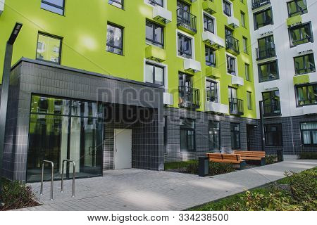 New Residential Quarter Of New Buildings: Modern Infrastructure In The Courtyard Of An Apartment Bui