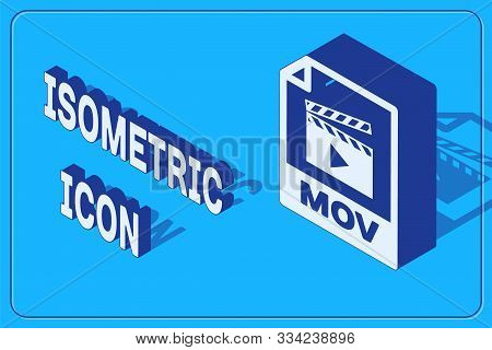 Isometric Mov File Document. Download Mov Button Icon Isolated On Blue Background. Mov File Symbol.