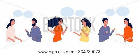 Communication Concept. Flat People Chatting, Dialogue Vector Illustration. Boys Girls Actively Commu
