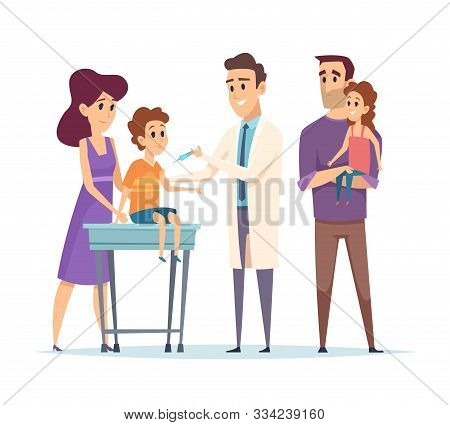 Family Doctor. Pediatrician, Vaccination Vector Illustration. Happy Family And Doctor Characters. Ki
