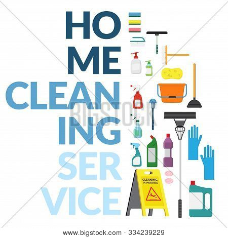 Vector Set Of Household Supplies Cleaning Product , Tools Of House Cleaning Isolated On White Backgr