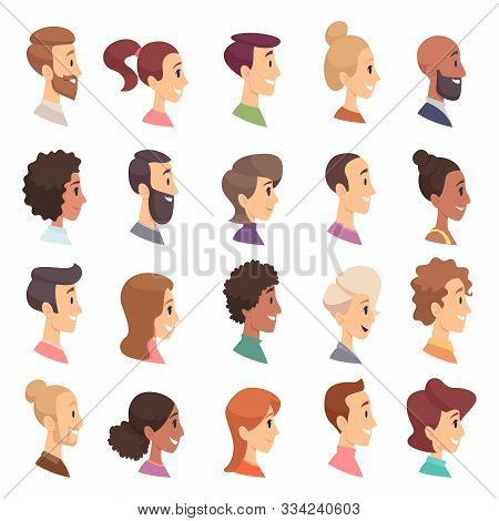 Faces Profile. Avatars People Expression Simple Heads Male And Female Vector Persons Cartoon Illustr