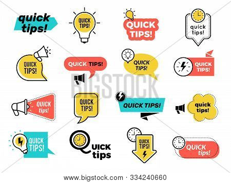 Quick Tips Badges. Graphic Stickers Ideas Reminders Quickly Thinks Solutions Learning Logos Vector C
