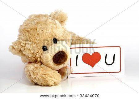 Teddy bear with I Love You Sign