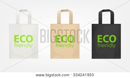 Tote Shopping Cotton Bags With Green Text Eco Friendly. Vector Mockup Of Isolated White, Beige And B