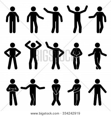 Stick Figure Man Standing Front View Different Poses Vector Icon Pictogram Set. Black And White Cut