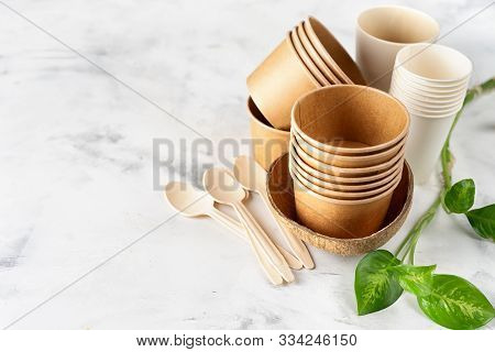 Paper And Bamboo Cups, Bag And Wooden Cutlery