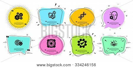 Service, Statistics Timer And Computer Fan Line Icons Set. Chat Bubbles With Quotes. Cogwheel, Seo G