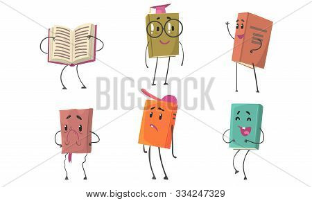 Set Of Animated Books In Colorful Covers Vector Illustration Cartoon Character