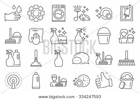 Cleaning Line Icons. Laundry, Window Sponge And Vacuum Cleaner Icons. Washing Machine, Housekeeping