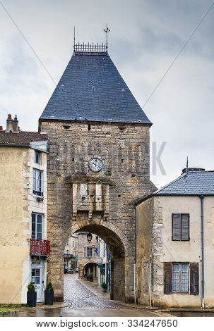 Gate Tower With Clock In Noyers (noyers-sur-serein), Yonne, France
