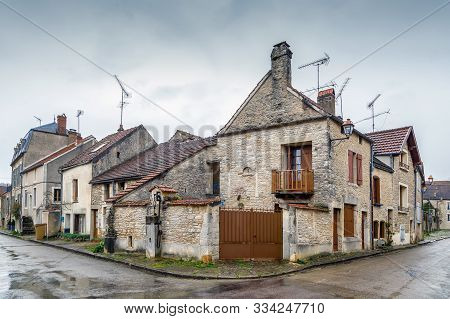 Street With Historical Houses In Noyers (noyers-sur-serein), Yonne, France