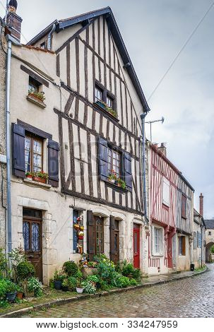 Street With Historical Half-timbered Houses In Noyers (noyers-sur-serein), Yonne, France