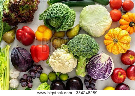 Top View Of Fresh Vegetables On Light Background