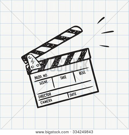 Movie Clapperboard Doodle Icon. Film Set Clapper For Cinema Production. Board Clap For Video Clip Sc