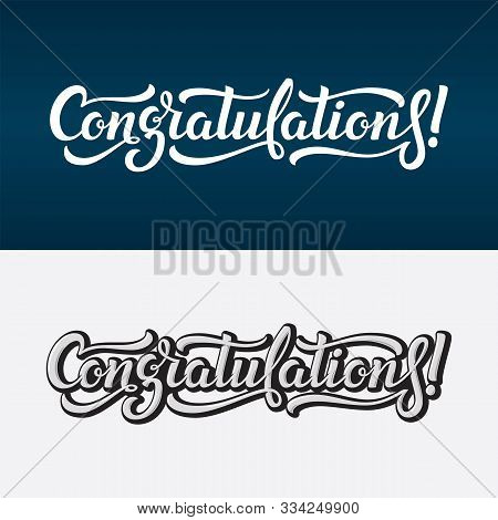Congratulations Lettering Vector Text. Calligraphic Banner With Greeting Inscription