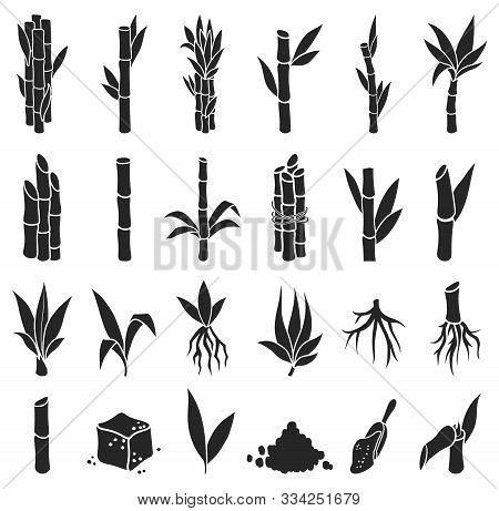 Sugar Cane Black Vector Illustration On White Background.sugarcane Set Icon.vector Illustration Of S