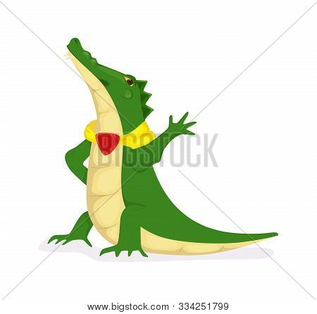 Proud Green Crocodile Character Cartoon Vector Illustration Isolated