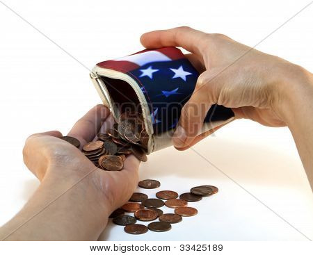 American Flag Wallet With Coins And Hands