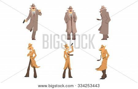 Old And Young Secret Agents And Private Detectives In Different Actions Vector Illustration Set Isol
