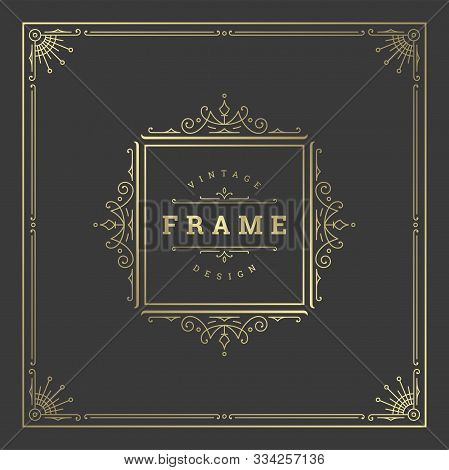 Vintage Flourishes Ornament Swirls Lines Frame Template Vector Illustration.