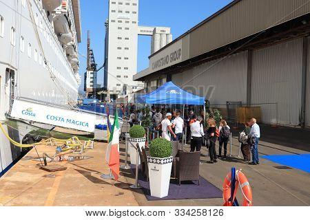 Savona, Italy - September, 26th 2019: Costa Magica, Moored At The Cruise Terminal In Savona. Embarka