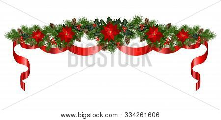 Red Christmas Garland Of Fir Branches With Poinsettia Flowers, Holly, Cones, Red Ribbons And Berries